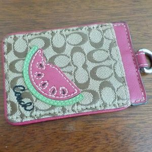 Coach Luggage Tag Watermelon Pink Brown